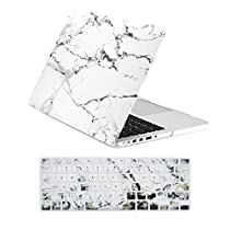 TopCase 2 in 1 Retina 13-Inch White Marble Rubberized Hard Case and Keyboard Cover for MacBook Pro 13