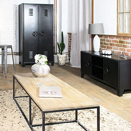 MadeinMeuble Meuble tv industriel métal noir 2 niches, 2 portes ...