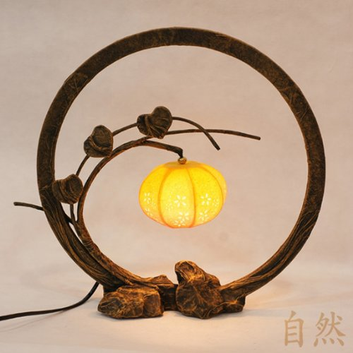 Mulberry Rice Paper Ball Handmade Flower Bud Design Art Nouveau Shade Yellow Round Globe Lantern Brown Asian Oriental Decorative Bedside Floral Accent Unusual Table Lamp Table Lamp Natural Paper Shade