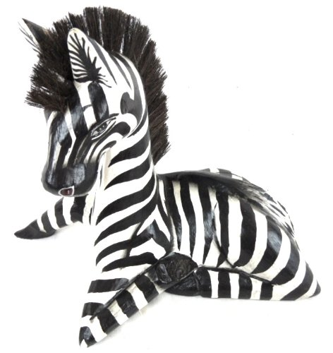 Hand Carved Wooden African Safari Baby Zebra Statue Laying Down