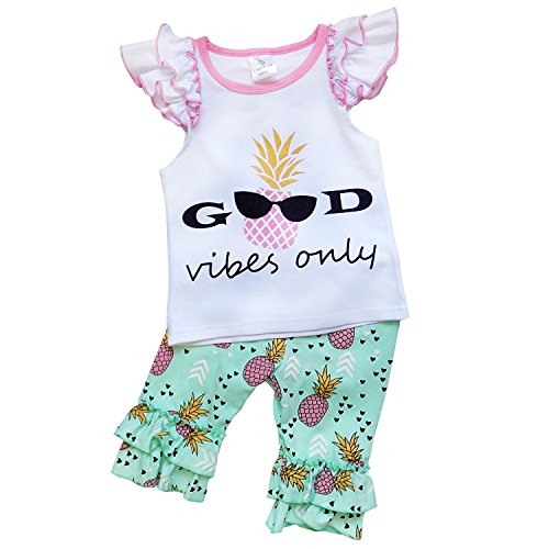 So Sydney Girls or Toddler Deluxe Novelty Ruffle Summer Boutique Shorts Outfit (XS (2T), Good Vibes (Boutique Clothing For Toddlers)