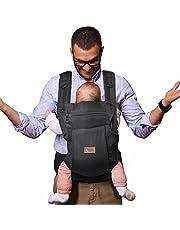 Sable Babytrage, Ergonomische Baby- und Kindertrage mit justierbaren Gurten und Schlafkapuze, Atmungsaktive Bauchtrage Hüft- und Rückentrage, 3 Tragepositionen