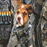 US Army perro Platos–Interruptor de luz cuadrados, Alternar doble, US Army Dog, 1 uds. por paquete
