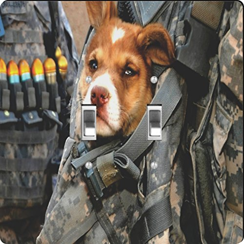 Rikki Knight US Army Dog - Placa de Interruptor con Interruptor Doble