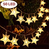 Star Fairy Lights, Battery Operated String Lights 7.5m/ 25ft 50 LED Stars, Decorative Lighting for Bedroom Christmas Wedding Birthday Party Indoor Outdoor (Warm White)