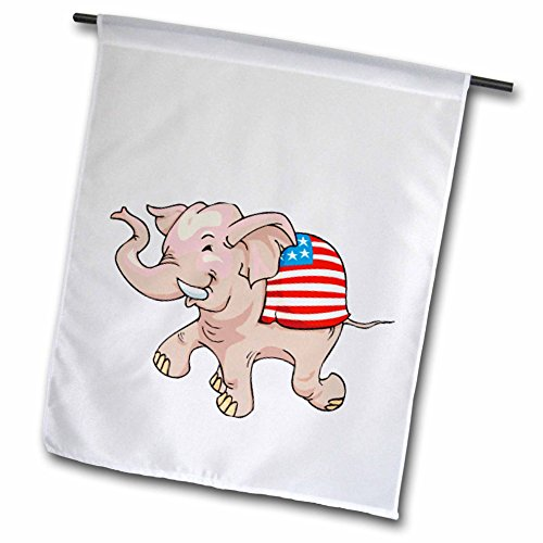 3dRose fl_59992_1 Republican Party Elephant Mascot Garden Flag, 12 by 18-Inch