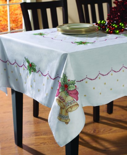 Bucilla Stamped Cross Stitch Tablecloth, 60 by 90-Inch, 8628