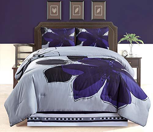 (GrandLinen 4 - Piece Navy Blue, Grey, Black Floral Comforter Set Queen Size Bedding)