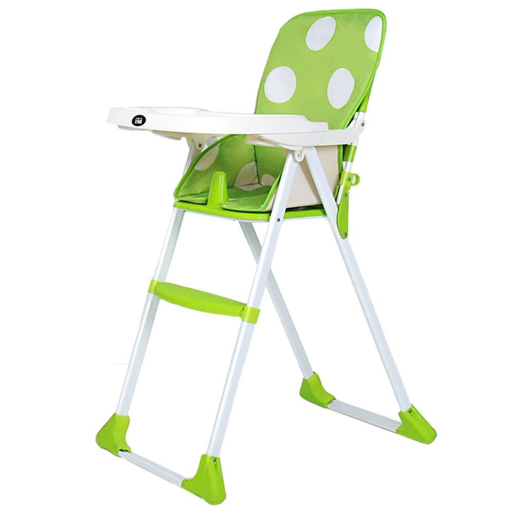 LXLA - シンプルな折り畳み式ハイチェア ベビーダイニング 幼児用ブースター授乳シート 取り外し可能なトレイ付き グリーン 46480  グリーン B07P132TWM