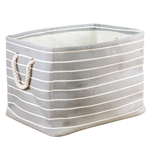 InterDesign Luca Fabric Storage, Bin with Handles for Blankets, Pillows, Clothing, Towels - Large, Gray/Cream (Pillow Basket)