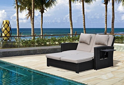 Courtyard Casual Miranda Outdoor Loveseat to Daybed Combo with Cushions