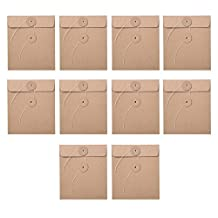 Oyfel 10PCS Waterproof File Bag Kraft Paper Solid Color Thickening Files Holder Filing Documents Organizer Storage Pouch Bags Envelope Style