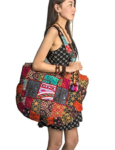 (Hippie Handmade Shoulder Beach Bag Tote Boho Chic Patchwork Embroidered Purse Red Casual Everyday Roomy Laptop School)