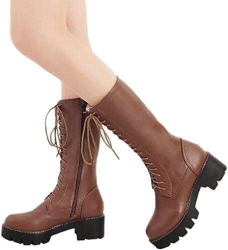 MYMYG Frau Mittleres Rohr Stiefel Damen rutschfeste Mitte Booties Winterschuhe Plateauschuhe Lederschuhe Stylische Zip up Lace Up Schuhe Elegant Retro