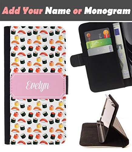 [ Customize Your Case ][ HTC U ULTRA ] Personalized Monogram Name Leather Wallet Flip Cover - Sushi Maki Roll