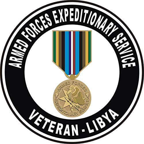 US Navy Armed Forces Expeditionary Medal Libya Military Veteran Served Window Bumper Sticker Vinyl Decal 3.8