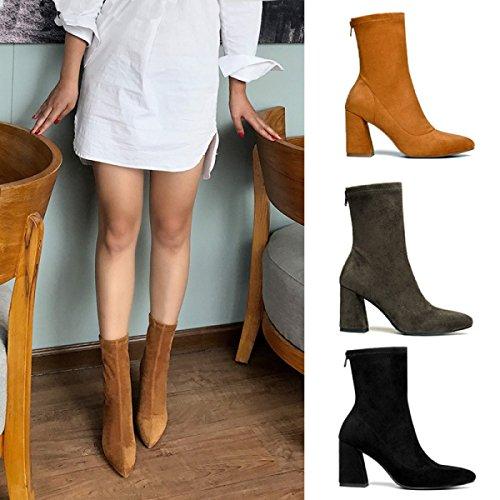 Lederstiefel Zeigte Darkgray Neue Stiefel High Schuhe Mode Heels S4g7Yqwqx