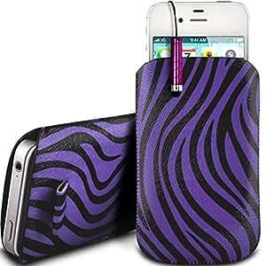Online-Gadgets UK - Nokia Asha 210 protección PU Zebra Diseño deslizamiento cordón tirador de la cremallera en la caja de la bolsa con cierre rápido y Mini Stylus Pen - púrpura