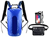 Freegrace Waterproof Dry Bags Set of 3 Dry Bag with 2 Zip Lock Seals & Detachable Shoulder Strap, Waist Pouch & Phone Case - Can Be Submerged Into Water for Swimming, Kayak, Rafting Navy Blue 35L