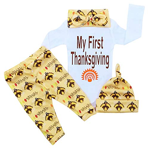 Thanksgiving Baby Outfits Newborn boy Girl My First Thanksgiving Romper Turkey Print Pant Clothes Set