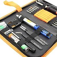 Kit de soldadura Kit hierro a soldar soldador Kit eléctrico soldar caja de herramientas electrónica temperatura regulables 200 ℃ ~ 450 ℃ hierro soldar con 5 puntos diferentes y hierro soldar: Amazon.es: Bricolaje y herramientas