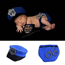 Osye Newborn Baby Crochet Knitted Outfit Handmade Costume Set Photography Photo Props (Police)