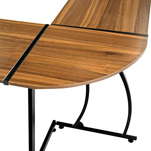 GreenForest Office Desk L-Shape Corner Computer PC Table Workstation 3-Piece for Home,Dark Walnut Photo #6