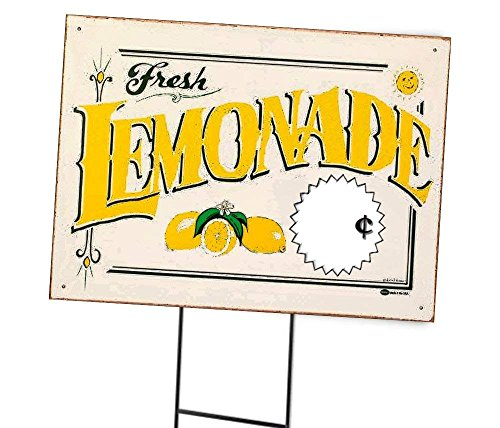 Silly Goose Gifts Fresh Lemonade Sign Old Fashioned for Your Lemonade Stand Banner (Yellow)
