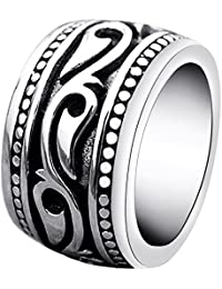 Mens Rings Heavy Wide Vintage Stainless Steel Ring Black Silver Celtic Wedding Band for Men Women Size 7 8 9 10 11 12 13 14