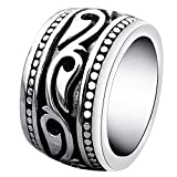 Men's Heavy Wide Vintage Titanium Stainless Steel Mens Ring Black Silver Punk Ring Celtic Wedding Band Birthday Father's Day Gift Size 10 Reviews