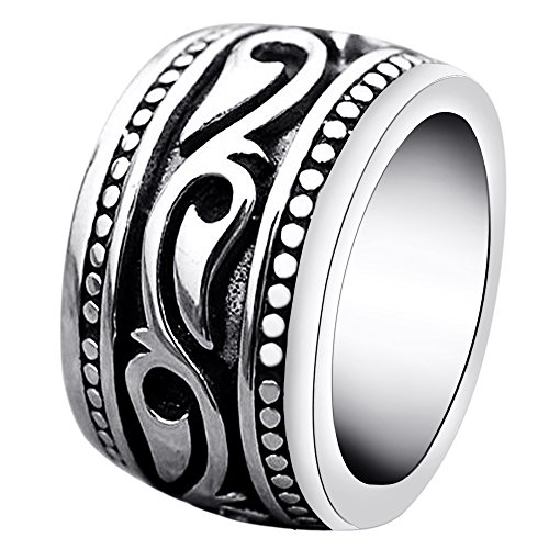 ENHONG Mens Rings Heavy Wide Vintage Stainless Steel Ring Black Silver Celtic Wedding Band for Men Women Size 11