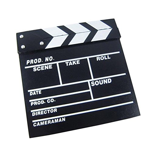 Clapper Board Odowalker Black Clapperboard Clap-Stick Dry Erase Cut Action Scene for Hollywood Camera Film Studio Home Movie Video 7.87x7.87 inch ()