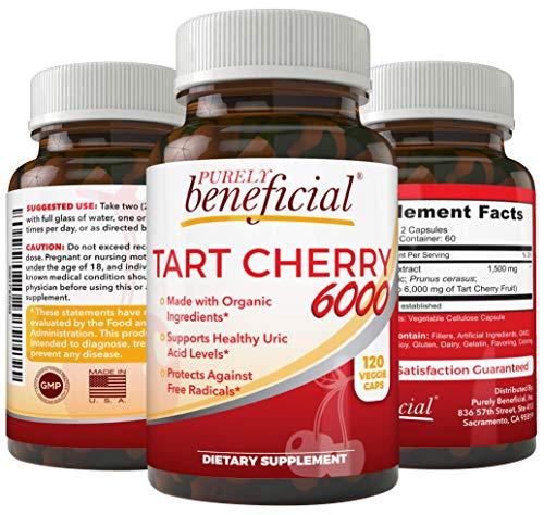 Organic Tart Cherry Capsules 6000 mg - Montmorency Cherry, Extra Strength, Raw, Non-GMO, 120 Capsules(Vegetarian)