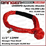 Ranger Soft UHMWPE Synthetic Shackle Rope 1/2 Inch (42,000 LBs Breaking Strength, WLL 15,000 LBs)