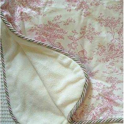 Black Toile Crib - Glenna Jean Isabella Throw Blanket, Pink/Cream