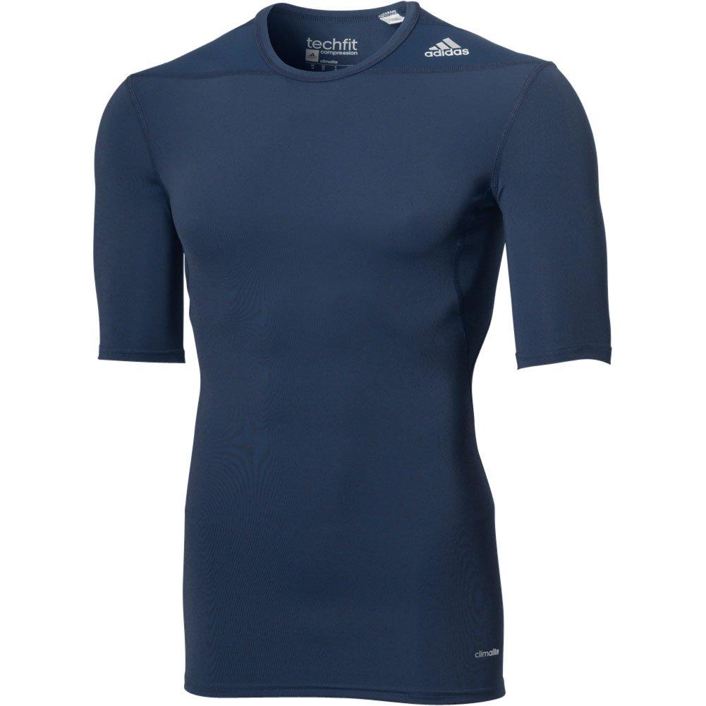 AdidasパフォーマンスメンズAdidasメンズTechfit圧縮ベースレイヤー半袖 B00INOK7VW Large|ネイビー ネイビー Large