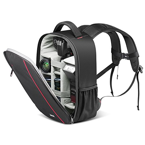 Neewer Professional Camera Case Backpack Bag-Waterproof Shockproof 14.6x10.24x5.5 inches with Tripod Holder and External Pocket for DSLR, Mirrorless Camera, Flash or Other Accessories (Gray Interior)