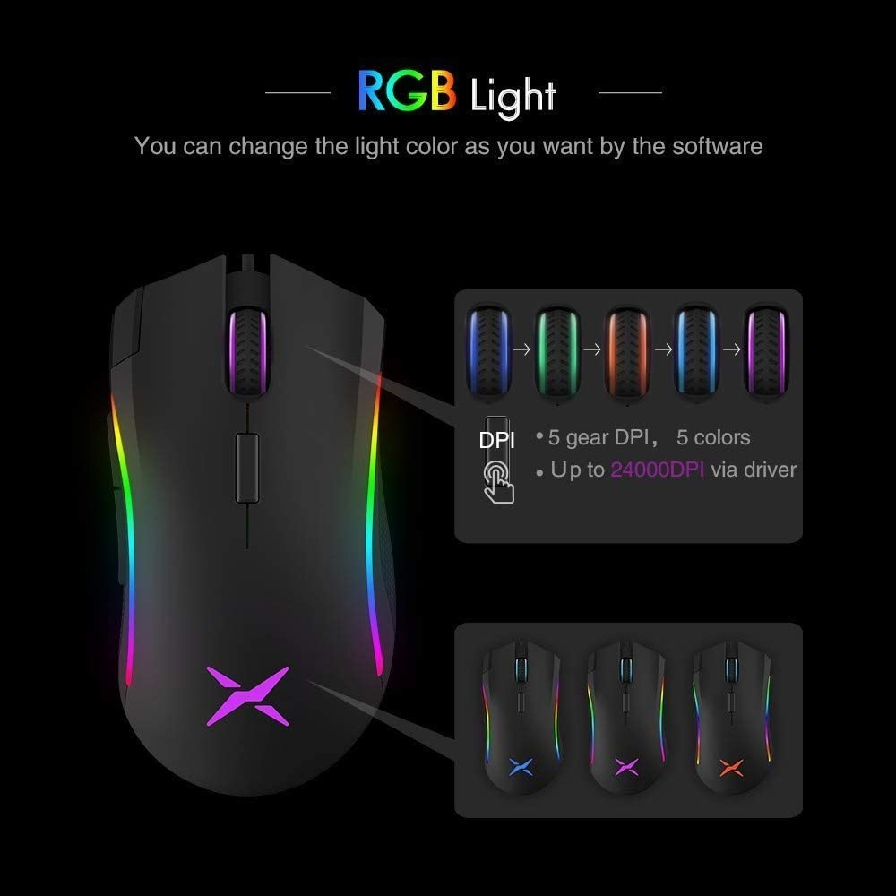 YUEBAOBEI Gaming Mouse Wired Ideal for Laptop PC Computer Games and Daily Use with 7 Buttons RGB Adjustable Lighting Five-Speed DPI