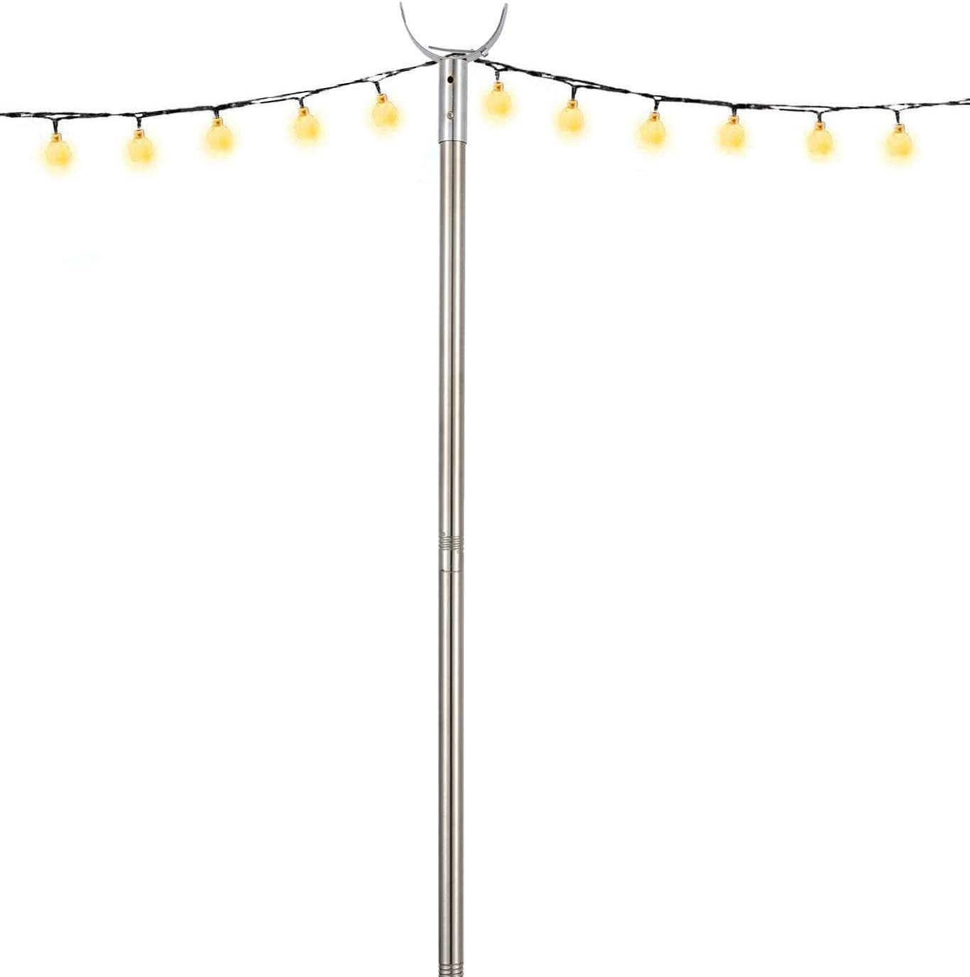 COCONUT Outdoor Light Poles for Lightweight String Lights, 9 FT Stainless Steel Anti-Rust Stand Holder LED Solar Hanging Bulbs for Patio, Backyard, Garden