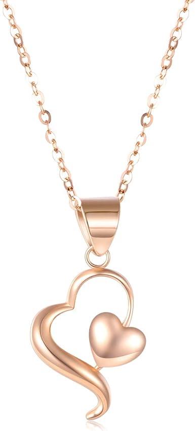 Fashion Ladies Heart-Cut Rhinestone Pendant Necklace Women Sweater Chain Jewelry