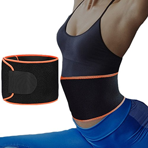 Pro-traveller Sweat Waist Trimmer, Neoprene Waist Trainer Belt for Women Weight Loss and Slim Waist line, Abdominal Fat Burner Warp & Back Supporter (Black/Orange)