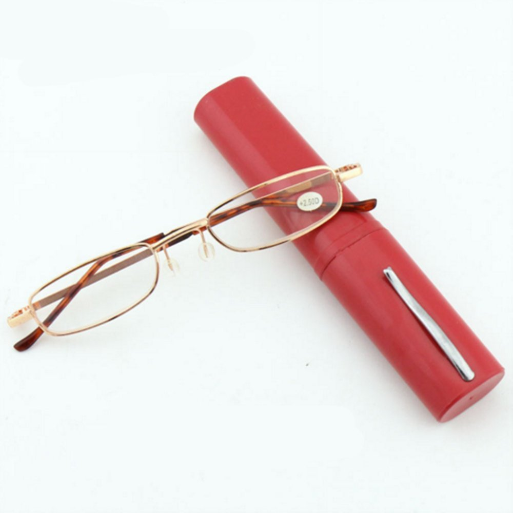 Outstanding/® 1 Pair Unisex Metal Frame Reading Glasses with Pen Tube Carry Case