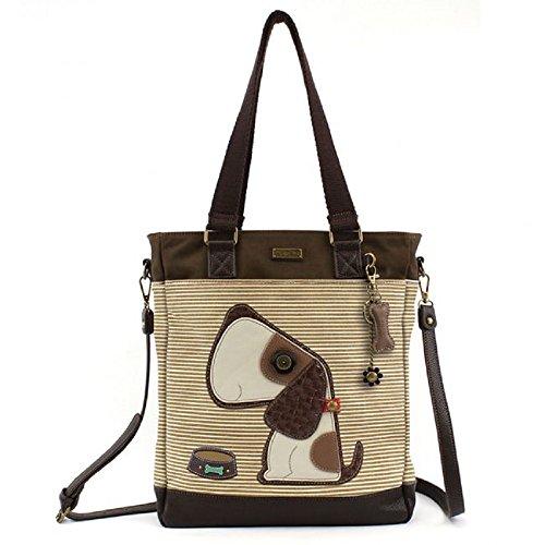 Dog Leather Tote - Chala Dog Work Tote Brown Stripe