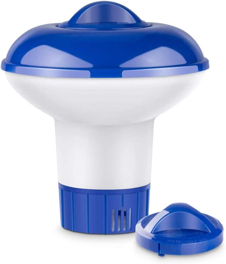 Lorcoo Dispensador Cloro Flotante, 5 Inches Dosificador de Cloro Dispensador de Químicos para Piscina, Parque Acuático, SPA