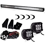 """TURBOSII DOT Approved 50""""Inch 28800LM 288W LED Light Bar Spot Flood Combo Work Light Driving Lights Offroad Lighting Waterproof IP67 For SUV Ute ATV Truck Boat Jeep Lamps,1 Year Warranty"""