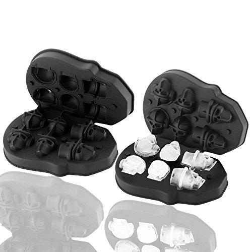 AveDistante 3D Calavera Cráneo Set de 6 Bandejas de Silicona con Embudo Pequeño para Whisky, Scotch, Chocolate, etc.
