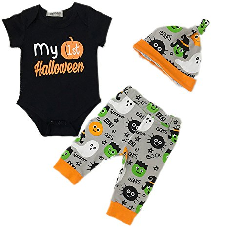 Askwind Unisex Baby Girl Boy Halloween Clothes Long Sleeve Pumpkin Romper with Hat and Pants Outfits Set 3PC (3-6Months, Black1)