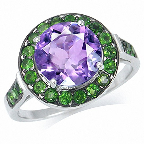 3.06ct. Natural Amethyst & Chrome Diopside White Gold Plated 925 Sterling Silver Cocktail Ring Size 10