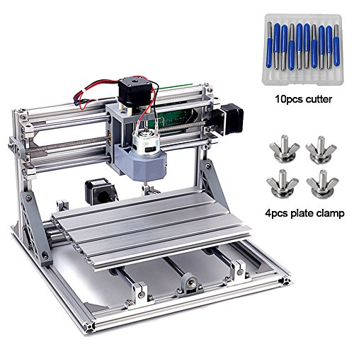 DIY CNC Router Kits 2418 GRBL Control 3 Axis Plastic Acrylic PCB PVC Wood Carving Milling Engraving Machine, XYZ Working Area 240x180x45mm CNC Router Machine By Beauty Star by Beauty Star