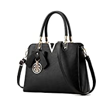 Lady's Pu Leather Tote Bags,Lucky Gourd Shoulder Handbags with Gold Metal Pendant